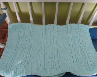 Mint Green Cable baby blanket 24 x 30