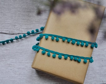 Teal Pom Pom Trim or Gift Decoration. By the Metre. Gift Wrapping, Christmas, Birthday, Wedding, Engagement, Baby Shower. Crafting, Sewing.