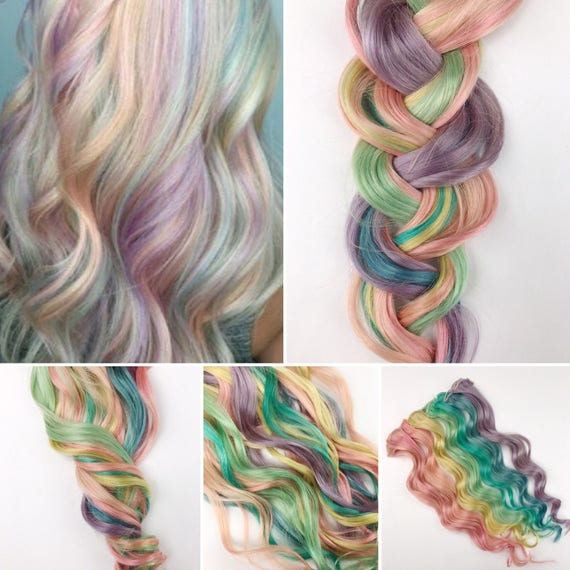 Rainbow Pastel Clip In Hair Extensions Pink Hair Hair Weave