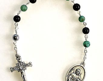 African Turquoise & Black Onyx Single Decade Pocket Rosary
