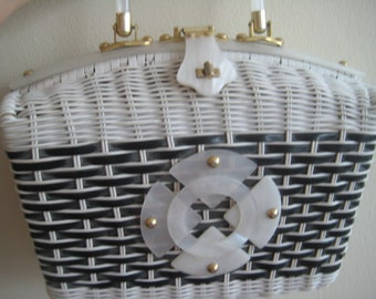Black & White Wicker Bag with Lucite Handle