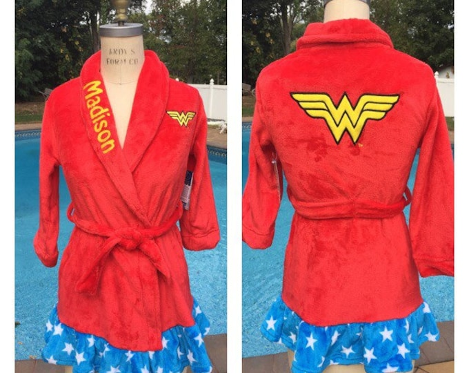 DC Comics Wonder Woman Bath Robe - Personalized Monogrammed Girls Sizes 4 - 10