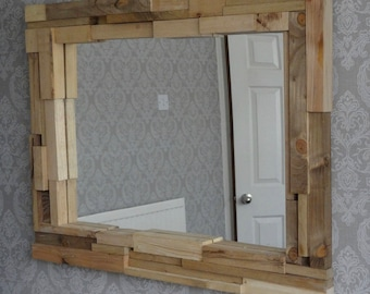 Bespoke upcycled mirror with oak and fir frame