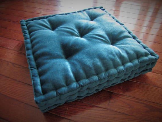 Velvet Floor Pillow Teal Blue/Green Tufted Floor Cushion