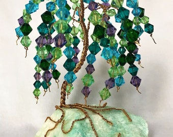 Glass Bead Gem Tree Sculpture on Amazonite Base