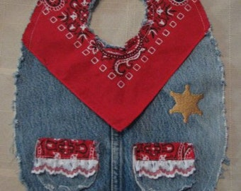 Girls Cute Sheriff Western Recycled Denim and Red Bandana Cowboy Baby  Bib