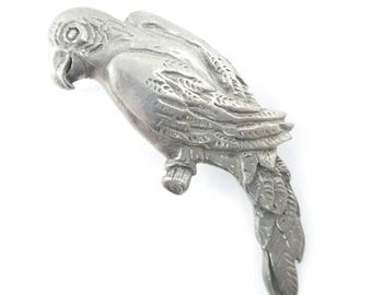 Vintage Pewter Parrot Brooch, Signed Seagull, F74