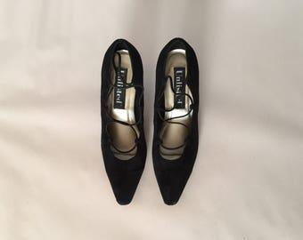 SPIDERWEB strappy suede heels | black suede kitten heels | size 8.5