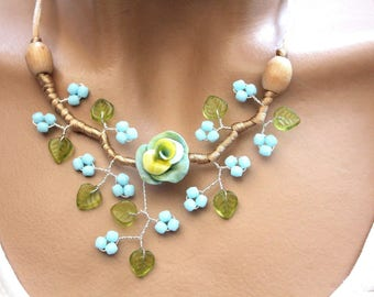 Necklace blue and green floral spring summer