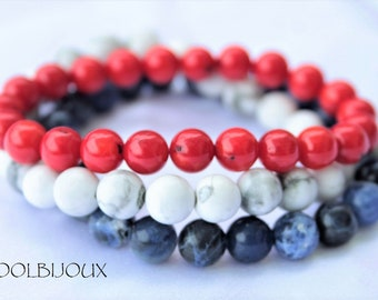 Red white blue coral HOWILTE and SOdalite bracelet