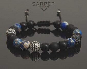 Mens Beaded bracelet, gemstone bracelet, mens gift, bracelet for men, gift for boyfriend, anniversay gift for husband, beaded bracelet