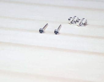 tiny black earrings, 2mm natural black spinel gemstone earrings, sterling silver stud earring, black gem earring stud, black minimalist stud