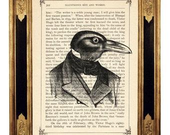 Halloween Raven Crow Gentleman Portrait  - Vintage Victorian Book Page Art Print Steampunk