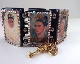 Frida Kahlo righnstone wood bracelet