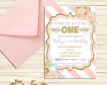 Wild ONE Birthday Invitation, First Birthday Tribal Invitation, Pink and Gold Wild One Party, Boho Birthday Invitation Printable