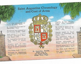 Vintage Florida Linen Postcard St Augustine Chronology and Coat of Arms Oldest City in the United States  UNUSED