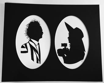 Beetlejuice and Lydia silhouette print