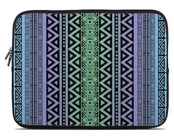 Tribal laptop sleeve, tribal laptop case, Laptop Sleeve, laptop case, laptop cover to fit 10, 13, 15, 17 inch, blue, green