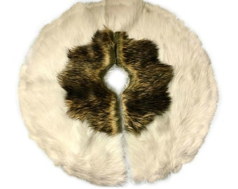 Classic Round Christmas Tree Skirt - Faux Fur Golden Wolf - Sheepskin Holiday Decoration - Soft Luxury Faux Fur - All New Sizes and Colors