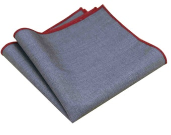 Grey Pocket Square with Red Stitching Groomsmen Pocket Squares