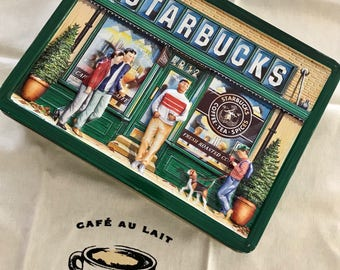 Vintage Starbucks Biscuit Tin, Starbucks Pike Place Market Advertising Collectible