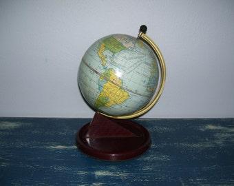 Chad Tin Globe, Small Globe, Metal Globe, Tabletop Globe, Toy Globe. 50s England Vintage