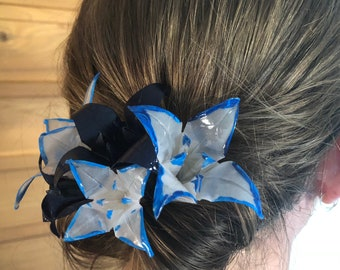 navy, blue and white origami hair comb