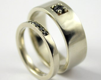 SET of Rough Diamond Bands - His 8mm & Hers 3mm Flat Design Wedding Bands, Comfort Fit - White Yellow or Rose 14K Gold - Ring Set