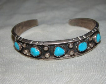 2D  NA Native American Stamped Sterling & Turquoise Bracelet