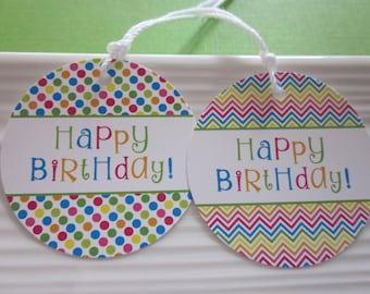 Happy Birthday gift tags / bright polkadot and chevron / set of 8