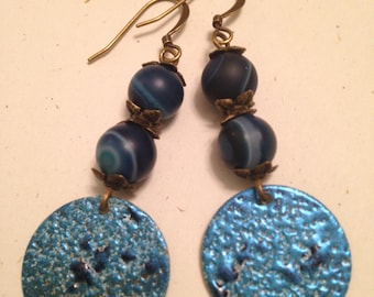 Blue and teal on patina brass with striped agate beads dangle earrings
