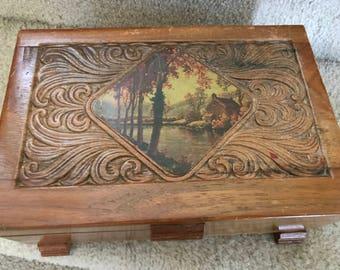 Vintage Carved Wood Storage Trinket Box