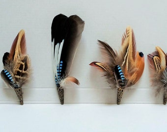 Pheasant and Jay feather brooch, hat lapel pin, wedding buttonhole, Country wear. boxed. free shipping