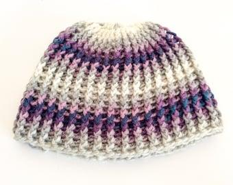 Crochet beanie/crochet hat/purple,grey hat/knitted beanie/winter hat/warm handmade hat/Christmas gift/stocking filler/crochet ribbed hat