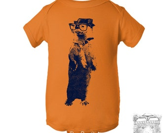 Baby One-Piece OTTER (in a Fedora) Eco screen printed (+ Color Options) FREE Shipping