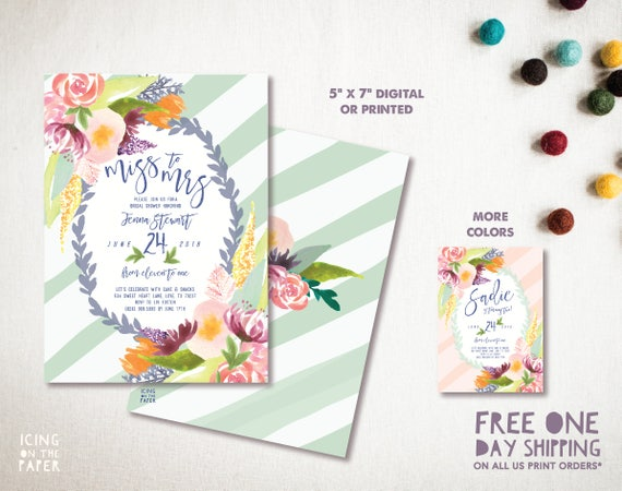 Painted Flowers Bridal Shower Invitation Invite Party Watercolor Floral