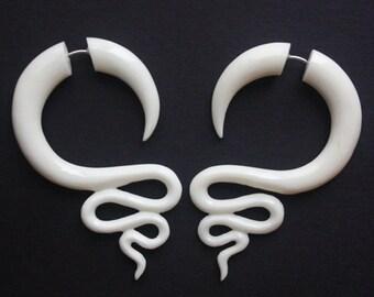 JAZZ - White Fake Gauge Earrings - Hand Carved Natural White Bone - Spiral Tribal Earrings