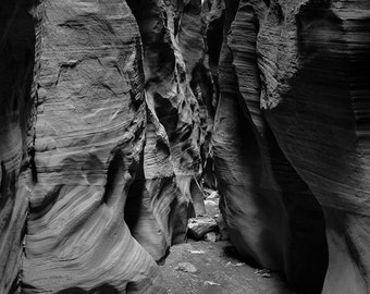 Utah Photography, Antelope Canyon, Desert Photography, Nature Print, Black and White Film Photography, Slot Canyon, Southwest Decor