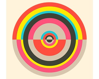 Around in Circles No. 4, Original Art Print, Target, Geometric, Abstract