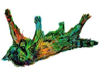 "Raccoon(3OG) Giclée Print - Cavanata - 8"" X 10"" Raccoon Graphic Fine Art Print, Original Illustration, Animal Art"