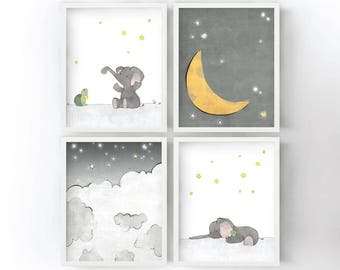 Elephant Nursery Art Prints - Stars and Moon Kids Room, Neutral Colors, Animal Childrens Art, Grey Nursery Decor