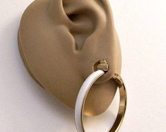 Monet White Flat Band Hoops Clip On Earrings Gold Tone Vintage Extra Large Round Polished Extended Edge Big Open Rings