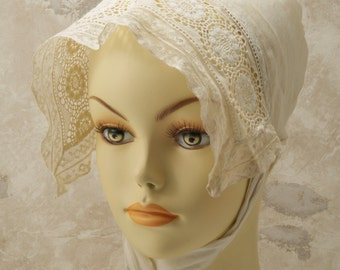 victorian, edwardian,womens Bonnet. Cotton and lace. 1900s. Clean, crisp, lacey.