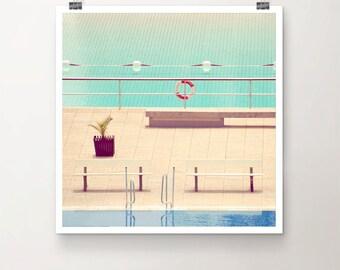 """KunstDruck """"SplishSplash"""" - Schwimmbad Pool Becken Wasser Sommer Freibad vintage Nostalgie Eiscreme 50er Jahre"""