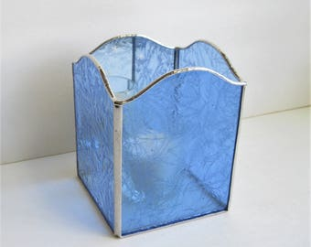 Blue Frost and Snowflakes Stained Glass and Mirror Candle Holder