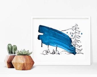 Abstract Nature Painting- Charcoal Drawing - Indigo Blue art - Minimal Landscape Art - Minimal Abstract Painting - Mixed Media Art