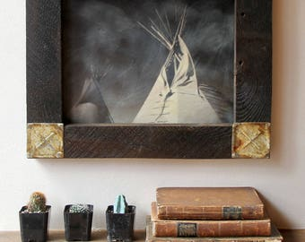 Native Tepee / Original Art / Encaustic Mixed Media Art / Original Digital Photograph / Wall Art / Wall Decor /  DAYBREAK  by Mikel Robinson