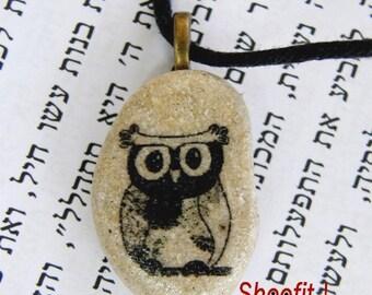Owl necklace, Owl pendant, owl charm, owl beach stone, owl jewelry, stone,beach stone, handmade stone jewelry, tatoo stone, owl