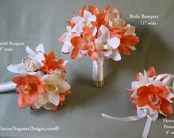 Ivory, orange, bouquet, lily/lilies, orchid/orchids, Real Touch flowers, cymbidium, silk/artificial, wedding, flowers