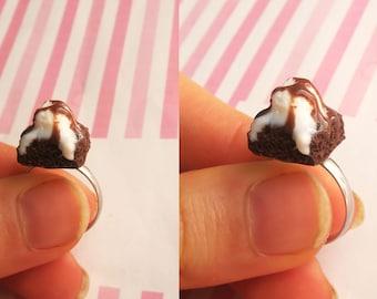 Brownie Ice Cream Ring - Food Jewelry, Miniature Food, Brownie Ring, Ice cream Ring, Food ring
